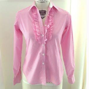 Lilly Pulitzer pink white stripe ruffle buttondown